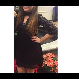 Black lace dress with choker neckline
